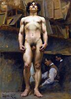 1896 J.C. Leyendecker, American, Muscular Nude Male, Antique, Vintage, Art Print