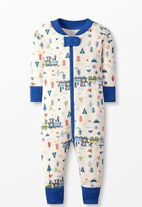 NWT Hanna Andersson Baby Zip Sleeper Pajama 50 cm/0-3 Months Blue Trains Organic