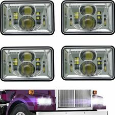 "Chrome 4""x6"" Led Headlights For Peterbilt Freightliner Western Star 4900 Semi"