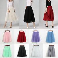 Womens Girls Soft Sweet TUTU Dance Fairy Style Comfy Tulle Dress BOHO Skirt