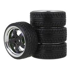 4P Plating 5 spoke Wheel Rims & Diagonal Pattern Tires for RC 1: 10 Drift Car