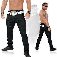 Herren Jeans Hose Leder Optik Slim Fit Clubwear Biker Kosmo Japan Style 3108