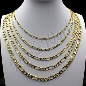 """Real 10K Solid Yellow Gold 2mm-6mm Figaro Link Chain Pendant Necklace 14""""- 30"""""""