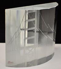 Moser Bohemian Glass art Paperweight Golden Gate Bridge San Francisco signed