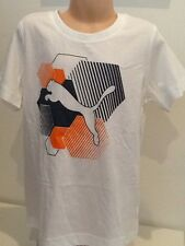 NEW PUMA kids age 7 - 8 unisex white logo t-shirt top sports street casual wear