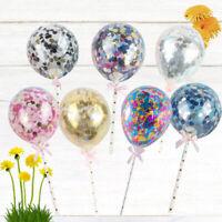 7PCS Balloons Cake Toppers Birthday Decorative Cake Picks for Wedding
