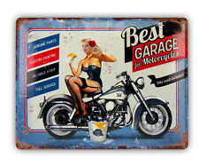 Schild Retro Garage Blechschild Vintage  Stil Nostalgisch