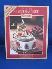 "Spode Porcelain Christmas Tree Figural Music Trinket Box 7"" Holly Teddy Bear NIB"