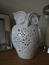 White Ceramic Owl Tea Light Holder 19 cm Tall