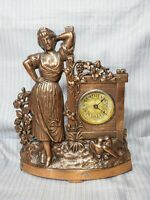 OCT. 28, 1902 - Waterbury? Antique Brass Statue Mantel Clock ~ Tested & Works