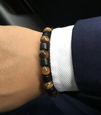 Men's Handmade Stone Bead Charm Bracelet Wristband Black Brown Grey