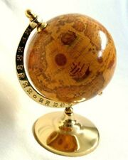 Globe Antique Style with Foot Made of Brass H 23 cm Tarnish Protection No Polish