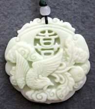 Chinese natural hand-carved exquisite lantian jade lucky Phoenix Amulet Pendant