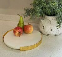 Round White Marble Vanity Serving/Jewellery/Accessory Decorative Display Tray