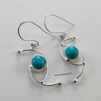Natural Turquoise Gemstone 925 Solid Silver Dangle Earrings Sterling Jewelry