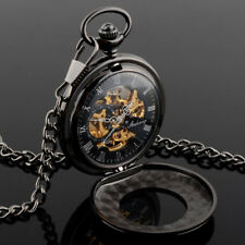 Mechanical Skeleton Steampunk Pocket Watch Black Vintage Chain Mens Gift Wind Up