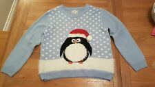 Ladies blue penguin christmas jumper size medium