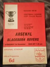 Arsenal v Blackburn Rovers League Cup 4th Rd Programme 01/11/67