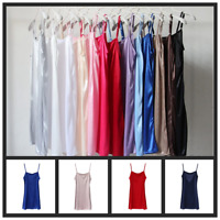 Lady Satin Strappy Slips Under Dress Spaghetti Petticoat Faux Silk Sundress Long