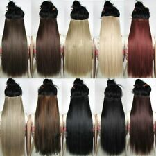 Clip in Hair Extension Black Brown Natural Look Straight Long Synthetic