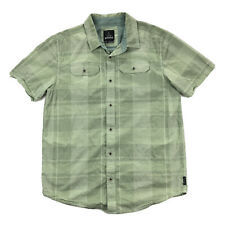 PrAna Marvin Mens Large Green Plaid Long Sleeve Button Up Pocket Shirt