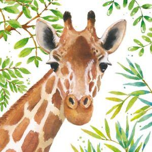 4 x Single Paper Table Napkins/3-Ply/33cm/Decoupage/Animals/Tropical Giraffe