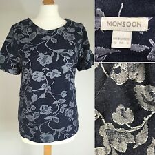 Monsoon Boxy Stretchy T Shirt Top Short Sleeve 12 Cotton Blend Floral Denim Look