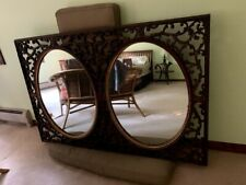 Vintage Large Double Wall Mirror Ornate French Style Carved Walnut AntiqueRococo