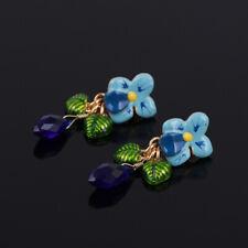 LES NEREIDES Enameled Blue Flower Bead Drop Dangling Earrings Stud Back