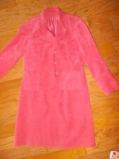 Skinner Ultra Suede Leather 2pc Jacket Blazer A Line Skirt Suit Sz 8 Watermelon
