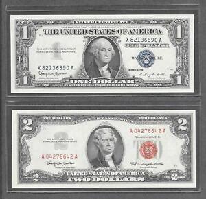 1957 B + 1963 - ( 2 )  $1 + $2 CU Red Seal & Silver Certificate Notes