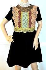 Valentino Fusion Lace Guipure Floral Embroidered Bib Black Dress US 6 / IT 42