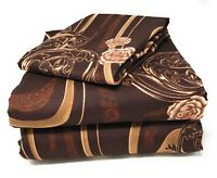 Tache 3-4 Piece Melted Gold Brown Beige Floral  Roses Fitted Flat Bed Sheet Set