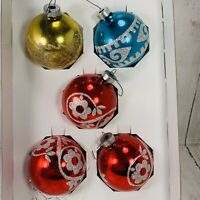 5 Vintage Holly American Made Glass Ball Glitter Stencil Christmas Ornament #258