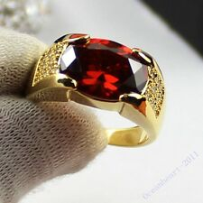 Sz 9,10,11 Antique Jewelry Mens Red Garnet 10KT Yellow Gold Filled Band Ring