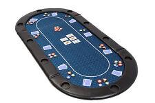 Plegable Póker Tapa de tabla en Azul Velocidad BAYETA CON CUERO apoyabrazos