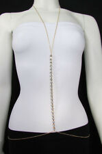 New Women Gold Multi Rhinestones Metal Body Chain Long Necklace Fashion Jewelry