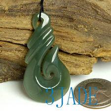 New Zealand Maori Style Hook Hei Matau Natural Nephrite Jade Pendant