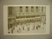 SOUVENIR POSTCARD CROWD IN FRONT OF A. SCHWAB STORE BEALE ST. MEMPHIS TENNESSEE