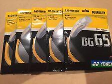 5 x PACKETS YONEX BG65 ORANGE BADMINTON RACKET STRING 100% GENUINE