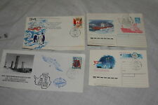 Lot of 4 Postmarked Envelopes, Postcard from Russian Antarctic Base BOCTOK 1989