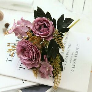 Artificial Flower Silk Bouquet Mixed Peony Rose Hydrangea Home Party Decoration