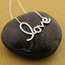 Sterling silver Love design necklace Love Letter CZ Pendant 18 inch N-20