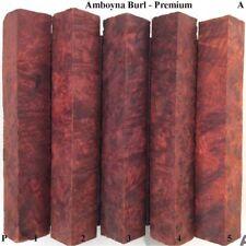 SET OF 5 AMBOYNA BURL  PEN BLANKS  PREMIUM GRADE BLANKS pterocarpus indicus