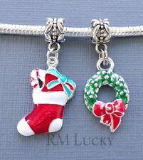 2 pcs Enamel Pendants CHRISTMAS fits European Charm Bracelet and Necklace C180