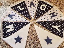 PERSONALISED BUNTING-NAVY & WHITE SPOT/STAR MIX- ANY NAME-£1 PER FLAG, FREE P&P