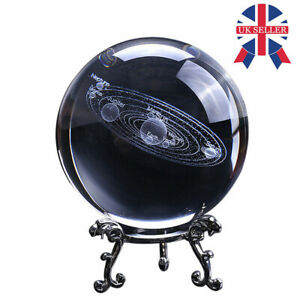 60mm/80mm 3D Clear Glass Engrave Solar System Crystal Ball+Metal Base Nice Gift