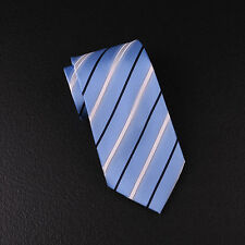 "Mens Light Blue Twill Striped 4"" Wide Tie 10cm Necktie Traditional Geometric B2B"