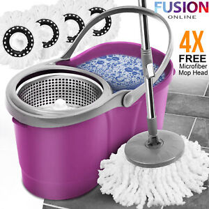 360° Spin Mop Bucket Steel Wringer Set 4 Microfibre Mop Head Spinning Cleaning