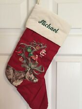 "Pottery Barn Ivory/Red Silly Stag Christmas Stocking ""Michael"" Monogram"